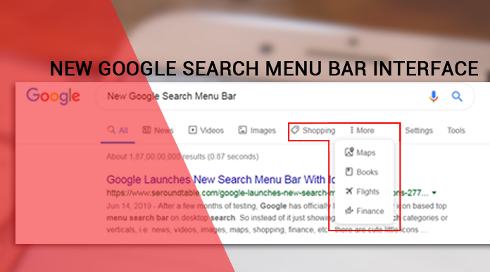 New Google Search Menu Bar Interface